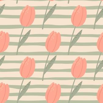 Padrão estilizado sem costura pálido com tulipas cor de rosa. fundo cinza despojado. papel de parede vintage botânico