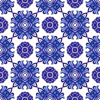 Padrão étnico de azulejos para tecido. abstrato geométrico mosaico vintage padrão sem emenda ornamental. Vetor Premium