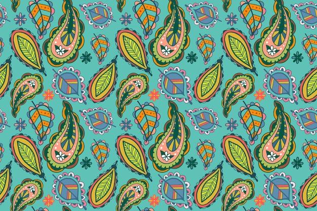 Padrão étnico estampado colorido