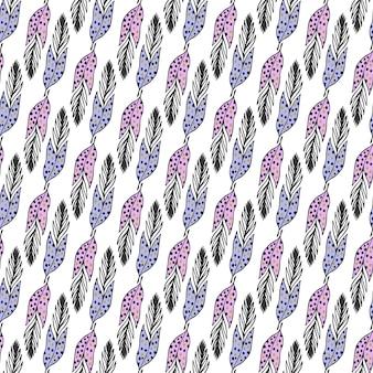 Padrão étnico sem costura com penas desenhadas mão em cores pastel. fundo do vetor. use para papel de parede, têxtil, preenchimento de padrões, design de embalagem, fundo da página da web.