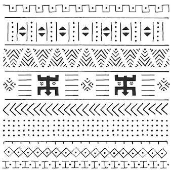 Padrão étnico tribal preto e branco com elementos geométricos, pano de barro africano tradicional, design tribal