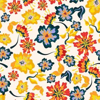 Padrão exótico com flores e folhas