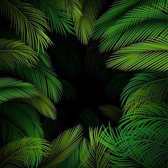 Padrão exótico com folhas de palmeira tropical