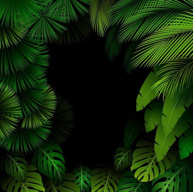 Padrão exótico com fundo de folhas tropicais
