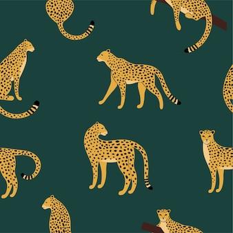 Padrão exótico sem costura com leopardo