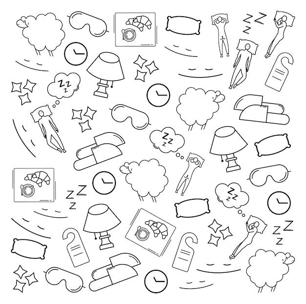 Padrão feito de ícones para dormir