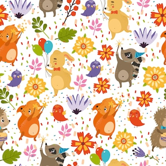 Padrão feliz aniversário, ouriço, coelho, raposa, guaxinim