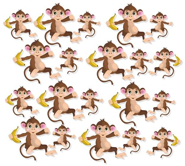 Padrão feliz dos macacos ilustração do vetor banana frutas