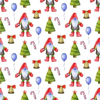 Padrão festivo de natal com gnomos