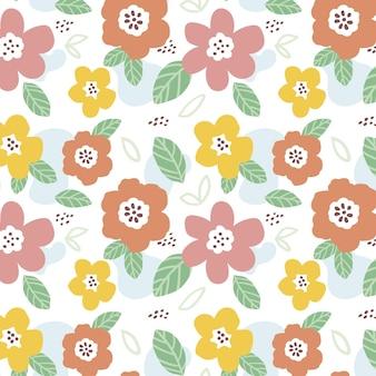 Padrão floral abstrato de design plano orgânico