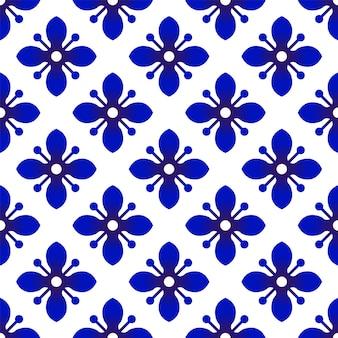 Padrão floral azul e branco sem costura