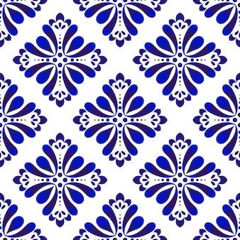 Padrão floral azul e branco