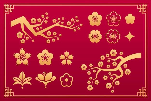 Padrão floral chinês, ornamento oriental sakura, elementos decorativos tradicionais de ouro asiáticos