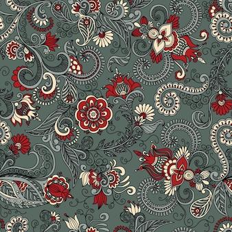 Padrão floral cinza e vermelho sem costura de vetor