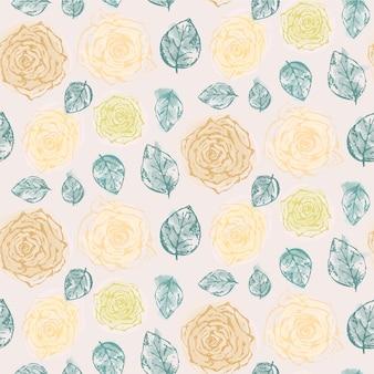 Padrão floral com delicadas rosas amarelas e laranja riscadas e folhas azuis