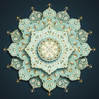 Padrão floral de mandala arabesco turquesa claro em azul escuro