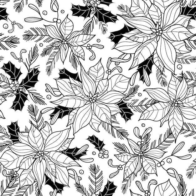 Padrão floral de natal em preto e branco