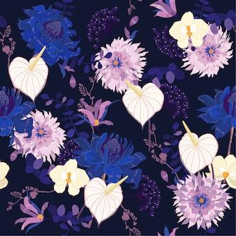 Padrão floral de noite nos muitos tipos de flores botânicas