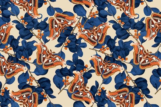 Padrão floral de vetor de borboleta abstrato, remix vintage de the naturalist's miscellany, de george shaw