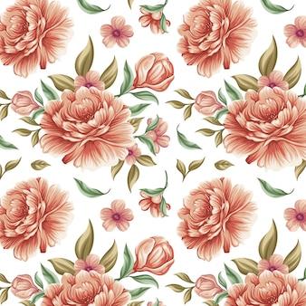 Padrão floral detalhado em tons de pêssego