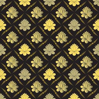 Padrão floral dourado sem costura