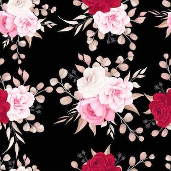 Padrão floral elegante com flores suaves