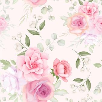 Padrão floral elegante sem costura com decoração de flores suaves