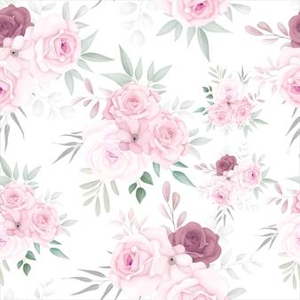 Padrão floral elegante sem costura com lindas flores suaves