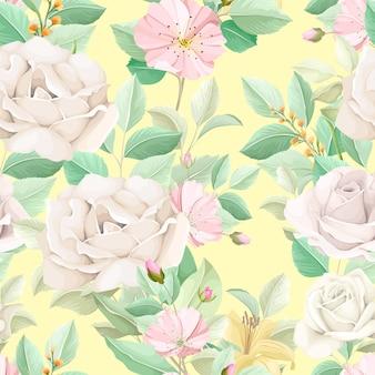 Padrão floral elegante sem costura