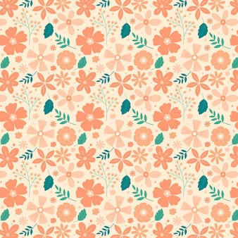 Padrão floral em tons de pêssego