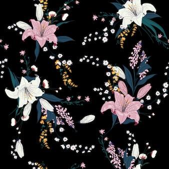 Padrão floral escuro