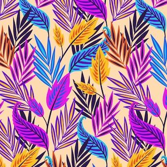 Padrão floral exótico colorido