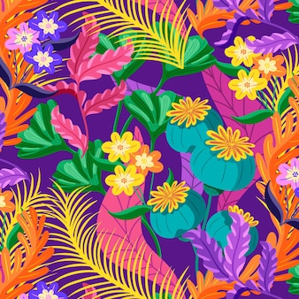 Padrão floral exótico colorido Vetor grátis