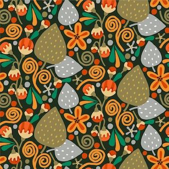 Padrão floral exótico marrom