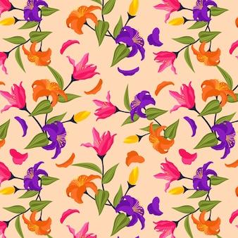 Padrão floral exótico pintado à mão criativo