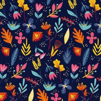 Padrão floral exótico pintado à mão