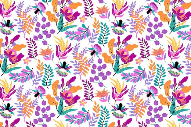 Padrão floral exótico pintado