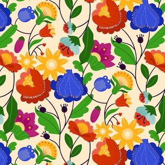 Padrão floral exótico sem costura pintado à mão