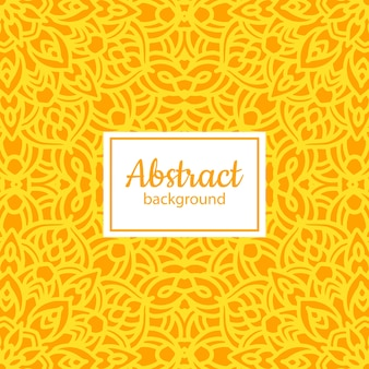 Padrão floral floral vetor étnico com mandala amarela
