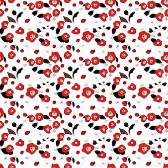 Padrão floral fofo no rad pequeno e flores brancas textura vetorial fundo floral ditsy