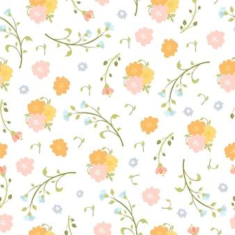 Padrão floral fofo sem costura