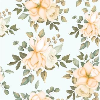 Padrão floral moderno sem costura com flores suaves