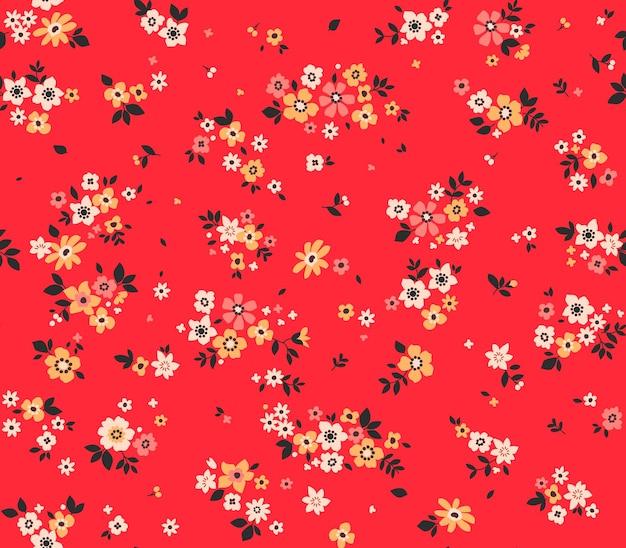 Padrão floral moderno vetor sem costura impressão perfeita flores de verão e primavera fundo vermelho