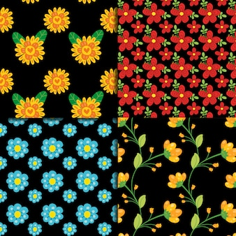 Padrão floral na coleção de fundo preto