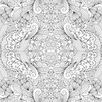 Padrão floral ornamental de contorno simétrico