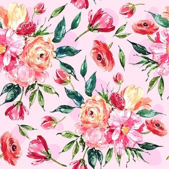 Padrão floral pintado à mão