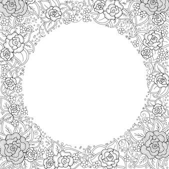 Padrão floral preto e branco de vetor de espirais, redemoinhos, rabiscos