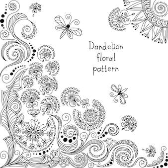 Padrão floral preto e branco de vetor