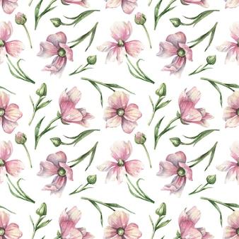 Padrão floral rosa botânico sem costura