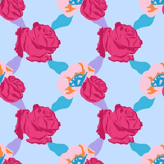 Padrão floral rosa fofo com fundo de rosas azuis